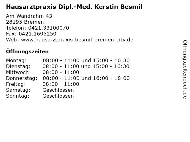 Hausarztpraxis Dipl.-Med. Kerstin Besmil in Bremen: Adresse und Öffnungszeiten