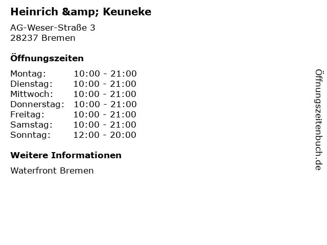 Heinrich & Keuneke in Bremen: Adresse und Öffnungszeiten