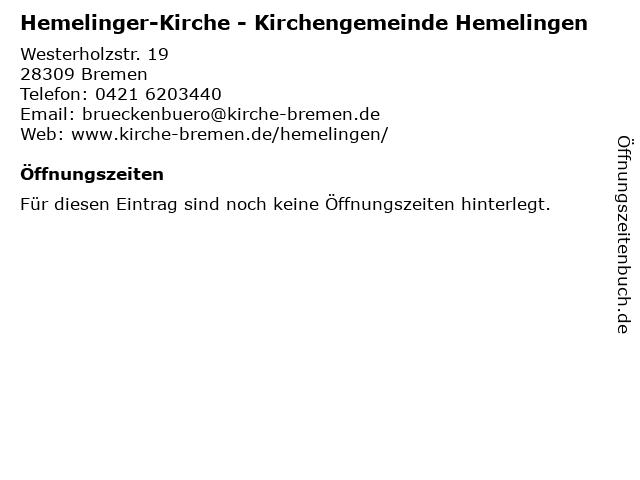 Hemelinger-Kirche - Kirchengemeinde Hemelingen in Bremen: Adresse und Öffnungszeiten