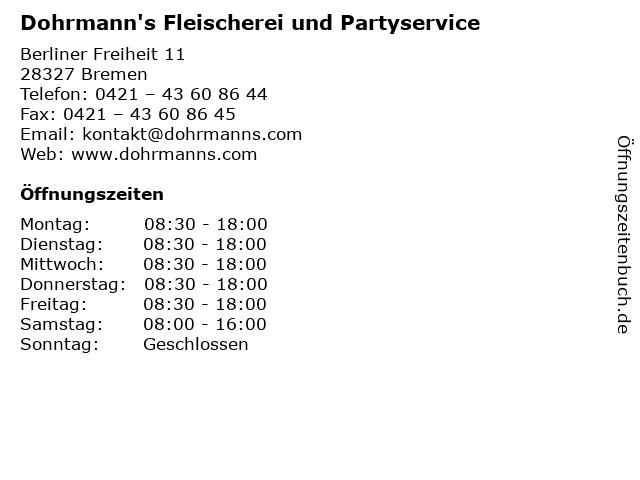 Herbert Dohrmann Fleischerei und Partyservice in Bremen: Adresse und Öffnungszeiten