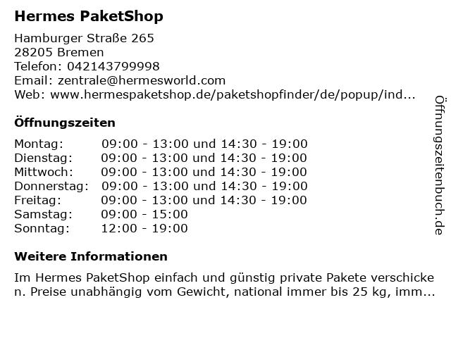 Hermes PaketShop in Bremen: Adresse und Öffnungszeiten