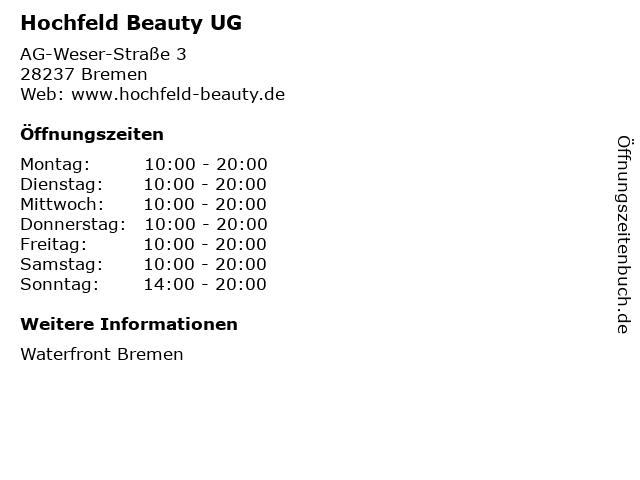 Hochfeld Beauty UG in Bremen: Adresse und Öffnungszeiten