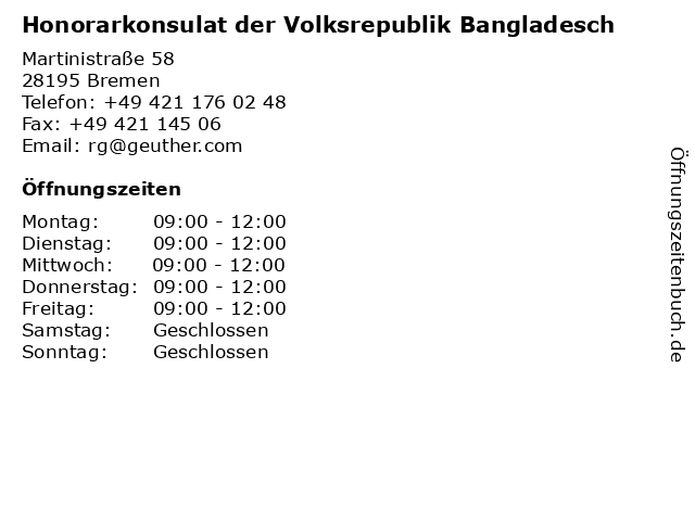 Honorarkonsulat der Volksrepublik Bangladesch in Bremen: Adresse und Öffnungszeiten