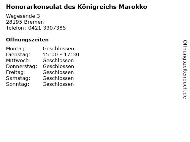Honorarkonsulat des Königreichs Marokko in Bremen: Adresse und Öffnungszeiten