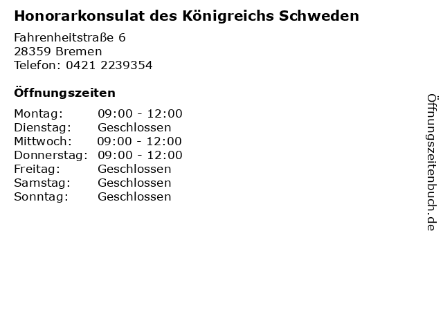 Honorarkonsulat des Königreichs Schweden in Bremen: Adresse und Öffnungszeiten