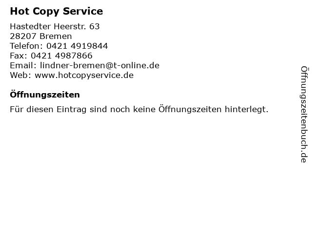 Hot Copy Service in Bremen: Adresse und Öffnungszeiten