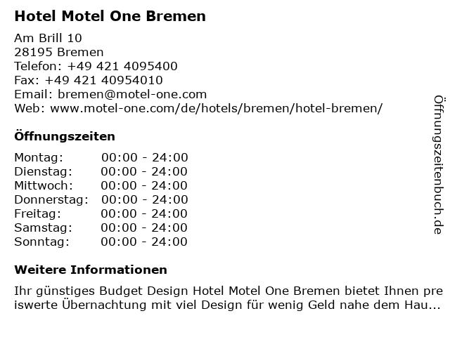 Hotel Motel One Bremen in Bremen: Adresse und Öffnungszeiten