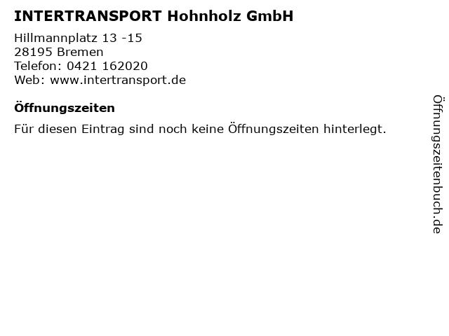 INTERTRANSPORT Hohnholz GmbH in Bremen: Adresse und Öffnungszeiten