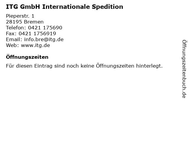 ITG GmbH Internationale Spedition in Bremen: Adresse und Öffnungszeiten