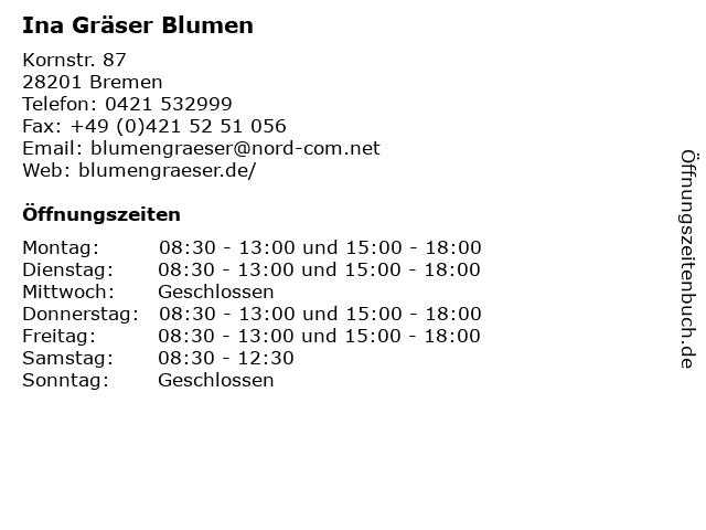 Ina Gräser Blumen in Bremen: Adresse und Öffnungszeiten