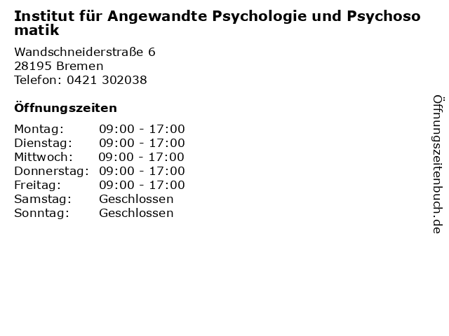 Institut für Angewandte Psychologie und Psychosomatik in Bremen: Adresse und Öffnungszeiten