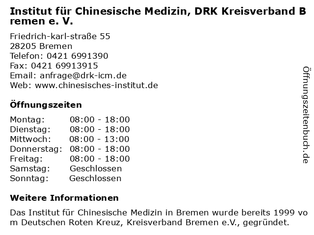 Institut für Chinesische Medizin, DRK Kreisverband Bremen e. V. in Bremen: Adresse und Öffnungszeiten