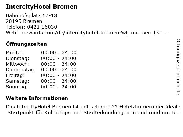 InterCityHotel in Bremen: Adresse und Öffnungszeiten