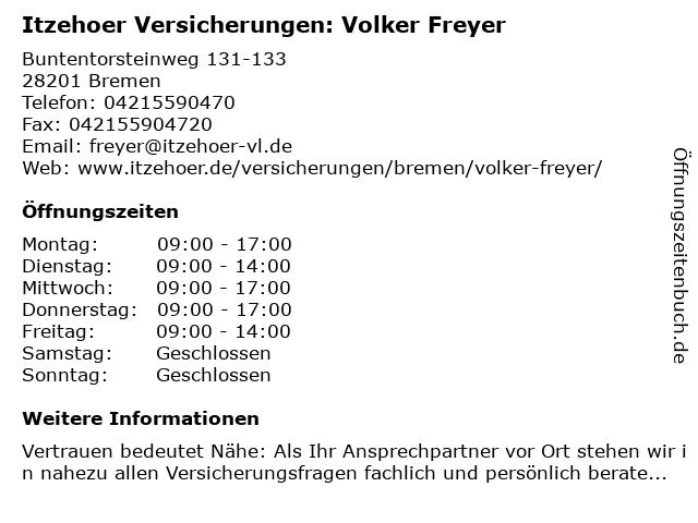 Itzehoer Versicherungen: Volker Freyer in Bremen: Adresse und Öffnungszeiten