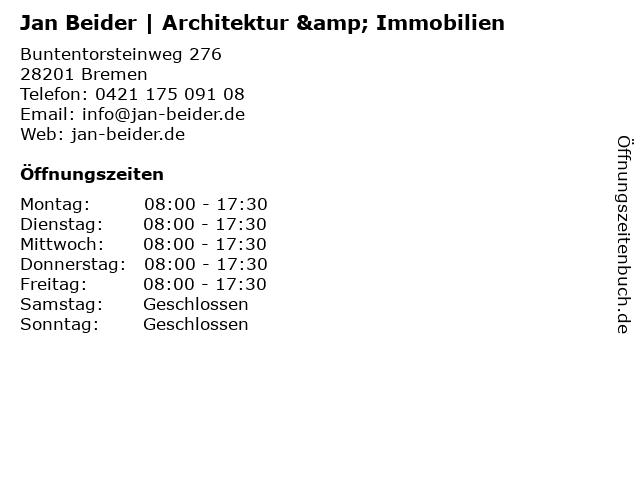 Jan Beider | Architektur & Immobilien in Bremen: Adresse und Öffnungszeiten
