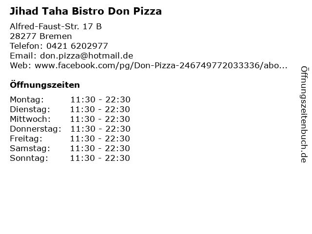 Jihad Taha Bistro Don Pizza in Bremen: Adresse und Öffnungszeiten