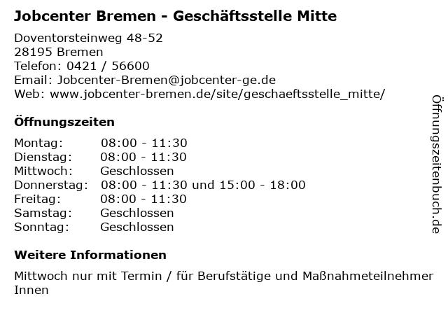 Jobcenter Bremen - Geschäftsstelle Mitte in Bremen: Adresse und Öffnungszeiten