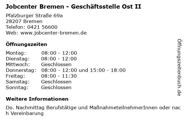 Jobcenter Bremen - Geschäftsstelle Ost II in Bremen: Adresse und Öffnungszeiten