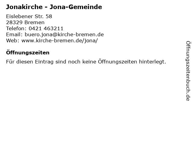 Gemeindebüro der Ev. Jona-Gemeinde in Bremen: Adresse und Öffnungszeiten