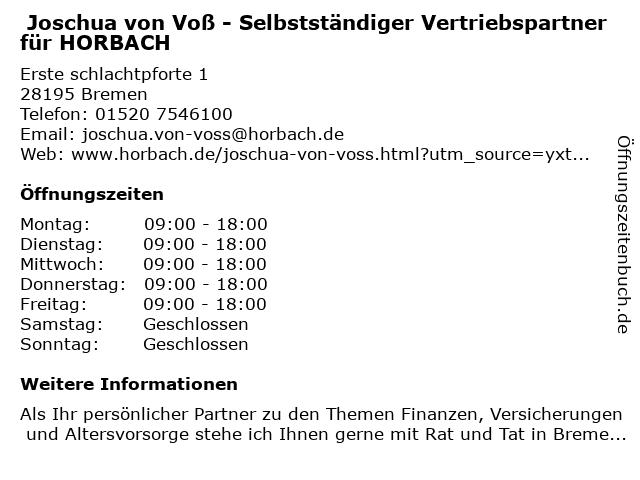 Joschua von Voß - Selbstständiger Vertriebspartner für HORBACH in Bremen: Adresse und Öffnungszeiten