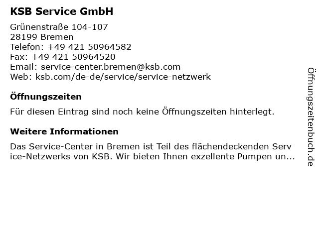 KSB Service GmbH in Bremen: Adresse und Öffnungszeiten