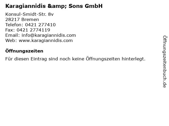 Karagiannidis & Sons GmbH in Bremen: Adresse und Öffnungszeiten