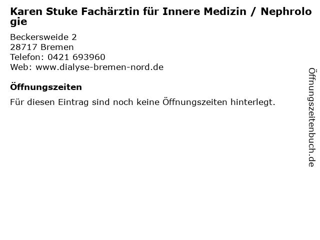 Karen Stuke Fachärztin für Innere Medizin / Nephrologie in Bremen: Adresse und Öffnungszeiten