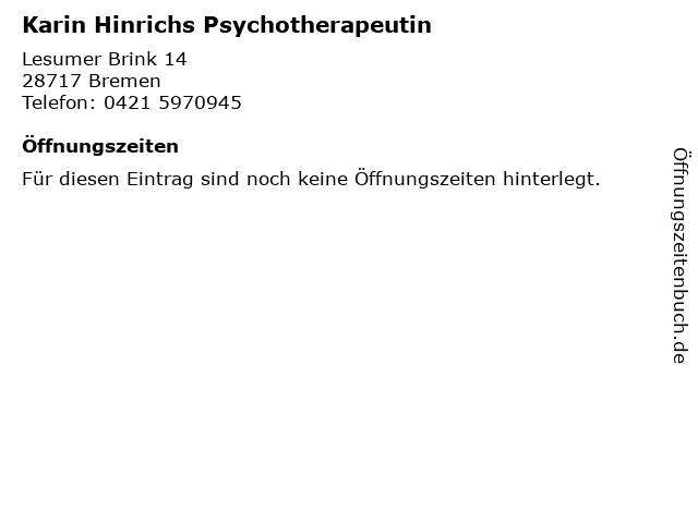 Karin Hinrichs Psychotherapeutin in Bremen: Adresse und Öffnungszeiten
