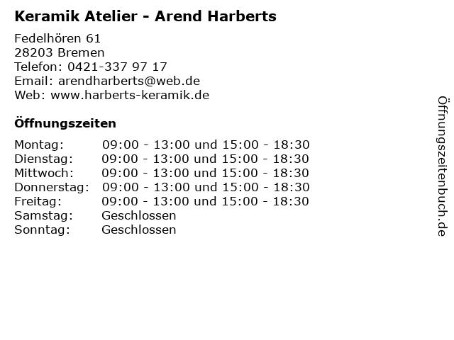 Keramik Atelier - Arend Harberts in Bremen: Adresse und Öffnungszeiten
