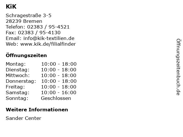 KiK Textilien und Non-Food GmbH in Bremen: Adresse und Öffnungszeiten