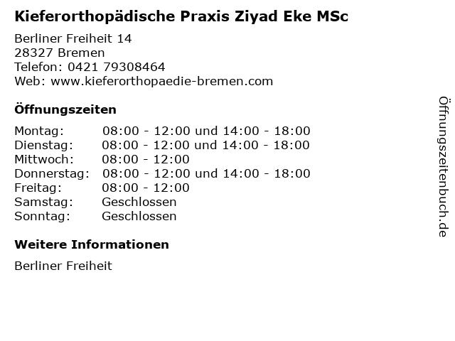 Kieferorthopädische Praxis Ziyad Eke MSc in Bremen: Adresse und Öffnungszeiten
