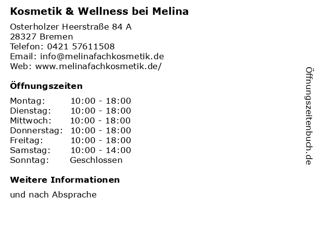 Kosmetik & Wellness bei Melina in Bremen: Adresse und Öffnungszeiten