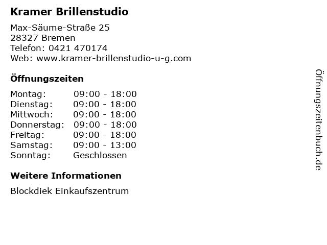 Kramer Brillenstudio in Bremen: Adresse und Öffnungszeiten