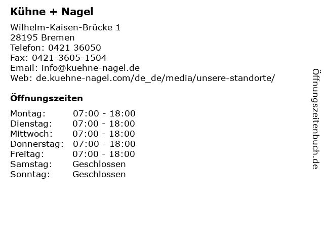 Kühne + Nagel in Bremen: Adresse und Öffnungszeiten