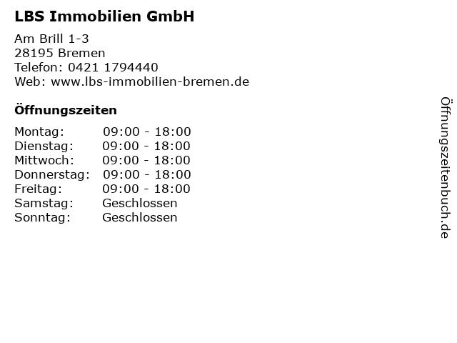 LBS Immobilien GmbH in Bremen: Adresse und Öffnungszeiten