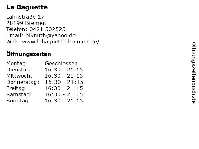 La Baguette in Bremen: Adresse und Öffnungszeiten