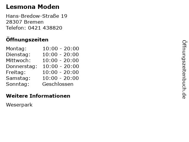 Lesmona Moden in Bremen: Adresse und Öffnungszeiten