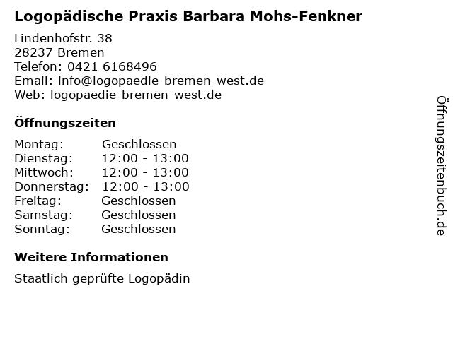 Logopädische Praxis Barbara Mohs-Fenkner in Bremen: Adresse und Öffnungszeiten