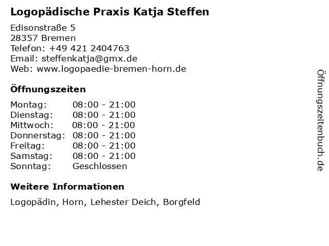 Logopädische Praxis Katja Steffen in Bremen: Adresse und Öffnungszeiten