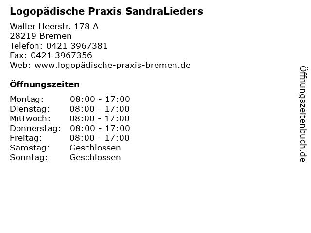 Logopädische Praxis SandraLieders in Bremen: Adresse und Öffnungszeiten