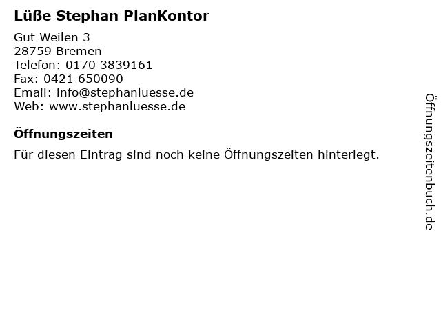 Lüße Stephan PlanKontor in Bremen: Adresse und Öffnungszeiten