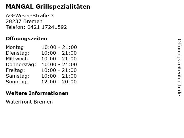 MANGAL Grillspezialitäten in Bremen: Adresse und Öffnungszeiten