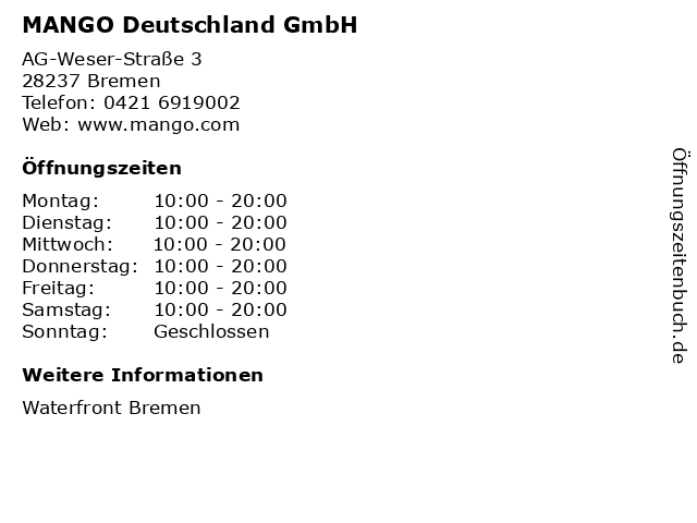 MANGO Deutschland GmbH in Bremen: Adresse und Öffnungszeiten