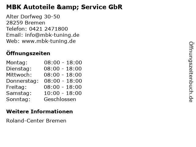 MBK Autoteile & Service GbR in Bremen: Adresse und Öffnungszeiten