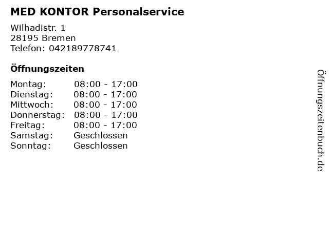 MED KONTOR Personalservice in Bremen: Adresse und Öffnungszeiten
