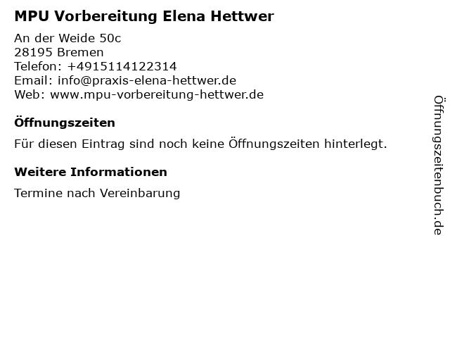 MPU Vorbereitung Elena Hettwer in Bremen: Adresse und Öffnungszeiten