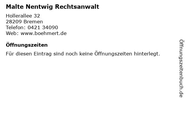 Malte Nentwig Rechtsanwalt in Bremen: Adresse und Öffnungszeiten