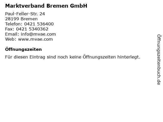 Marktverband Bremen GmbH in Bremen: Adresse und Öffnungszeiten