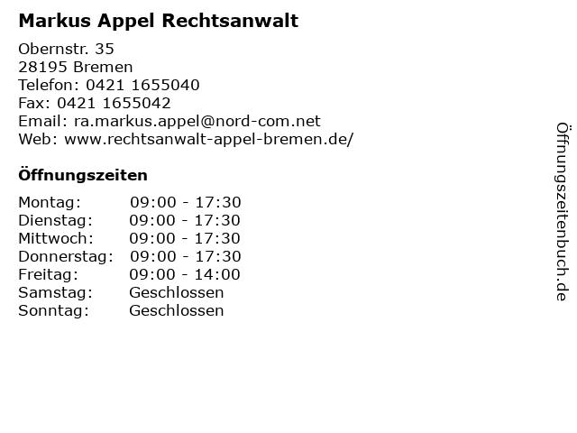 Markus Appel Rechtsanwalt in Bremen: Adresse und Öffnungszeiten