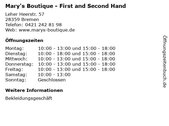 Mary's Boutique - First and Second Hand in Bremen: Adresse und Öffnungszeiten